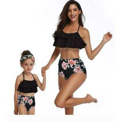 Family Matching Lotus Leaf Edge Flower Print Black Bikini Set Girls Swimwear