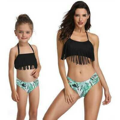 Black Fringed Girl Swimsuit Bikini Set Family Matching Bathing Suit