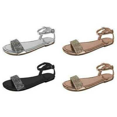 Case of [36] Women's Metallic Sandal with Rhinestones - Assorted
