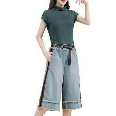 Sleeveless T-shirt Women's Jacket Wide-leg Seven-point Jeans
