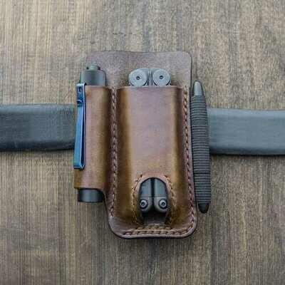 Genuine Leather Multitool Flashlight Waist Bag