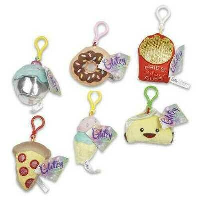 Case of [48] Glitzy Junk Food Plush Clip Keychains - Assorted
