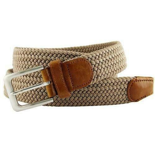 Elastic Silver Buckle Braided Stretch Belt