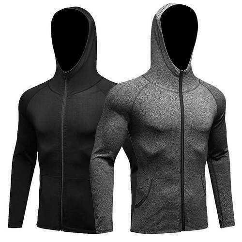 Men Fitness Running Training Sports Jacket Long-sleeved Zipper Casual Hoodie Quick-drying Coat
