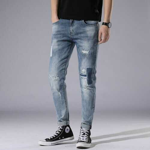 Season Light Blue Hole Jeans Men's Day Slim Stitching Patch Street Stretch Pants 778