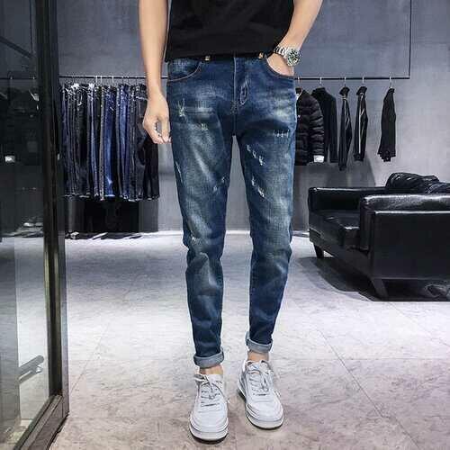Season New Hole Jeans Men's Slim Feet Youth Stretch Casual Wild Trend Pants Men