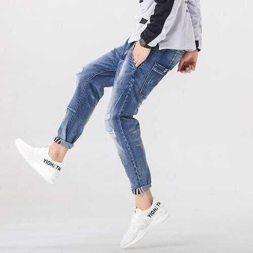 Season New Light Color Feet Harlan Jeans Men's Elastic Loose Large Size Trend Nine Pants Men's Pants