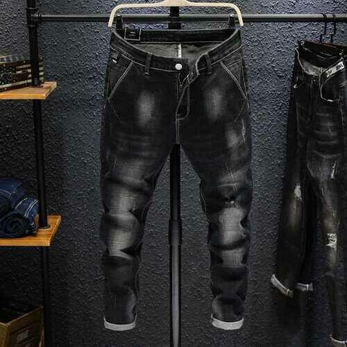 Season New Slim Stretch Pants Pants Youth Men's Fashion Wild Feet Jeans Long Pants 6603