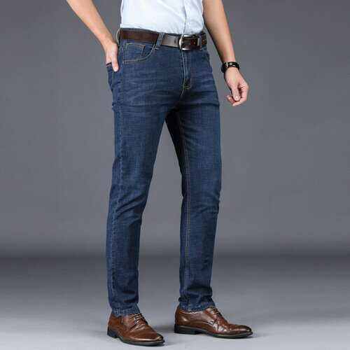 Season Thin Jeans Men's Middle-aged Business Straight Casual Pants Men's Waist Stretch Trousers Daddy