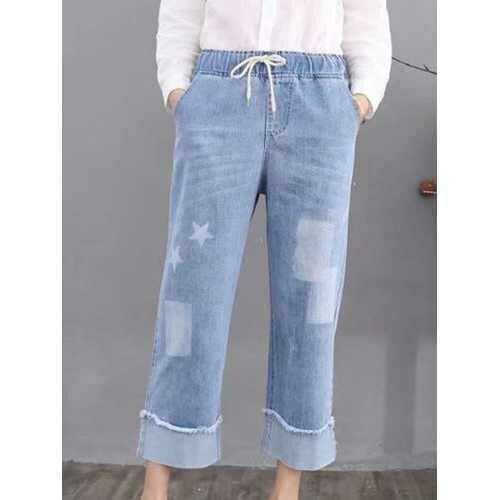 Stars Geometric Print Women Jeans
