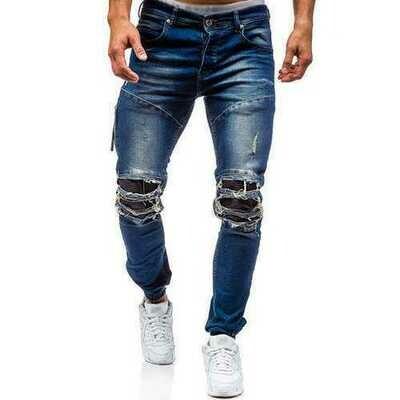Stylish Biker Washed Holes Frayed Jeans