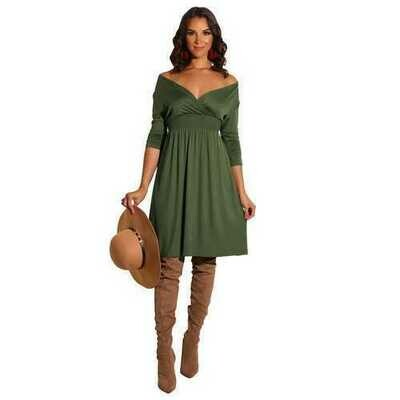 Women Fashion Long Sleeve Solid Army Green Deep V-neck Dress