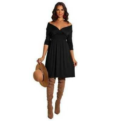 Women Fashion Long Sleeve Solid Black Deep V-neck Dress