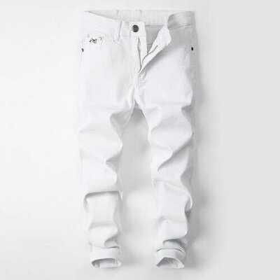 Thin Section White Pants Men's Slim Feet Pants Stretch Youth Casual Jeans White Men's Season Trend