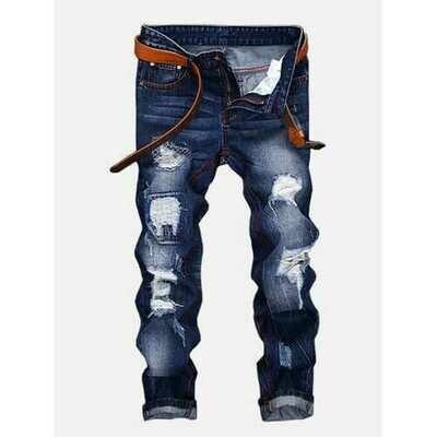 Vintage Holes Straight Legs Jeans