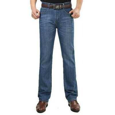 Summer Thin Straight Leg Elastic Long Denim Pants Jeans for