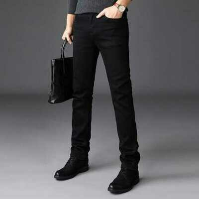 Thin Section Of Pure Black Jeans Men's Stretch Business Loose Straight Washed Jeans Large Size Pants