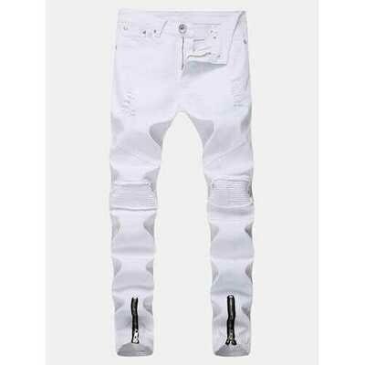 Stylish Hip Hop Ripped Zipper Fold Jeans