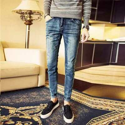 stretch jeans male youth feet Slim Korean students men's pants trend
