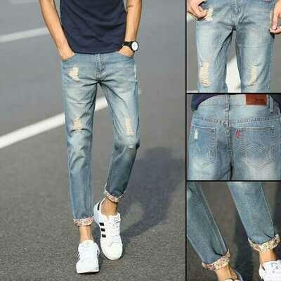 Straight Hole Fashion Trend Pants