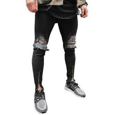 Skinny Zipper Cuff Jeans