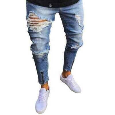 Skinny Ripped Zipper Design Jeans