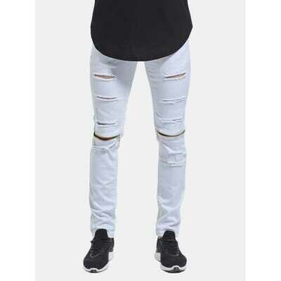 Skinny Hip Hop Ripped Knee Zipper Jeans