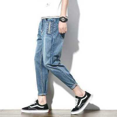 Second Test Men's Jeans Season New Youth Casual Harem Pants Japanese Large Size Long Pants Male