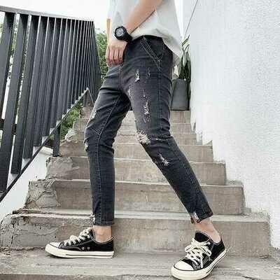 Season New Stretch Jeans Men's Feet Pants Men's Self-cultivation Trend Hole Nine Points Jeans Men