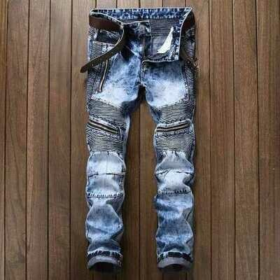 Season New Men's Jeans Europe And America Slim Straight Folds Zipper Locomotive Snowflake Jeans