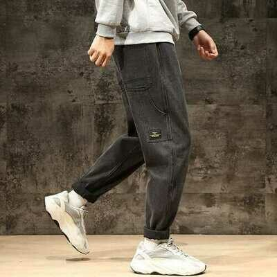 Season New Jeans Men Loose Feet Harem Pants Plus Fertilizer XL Wind Trend Youth Casual Trousers