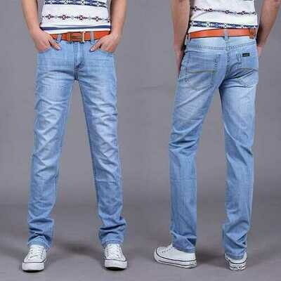 Season Light Color Loose Jeans Men's Slim Straight Youth Day Casual Men's Thin Section Waist Long Pants