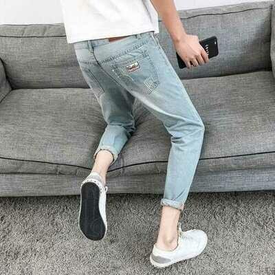 Season Hole Jeans Men's Nine Pants Pants Slim Feet 9 Pants Pants Japanese Retro Pants Thin Section