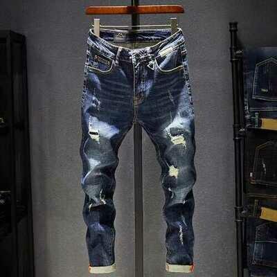Season Hole Jeans Men's Elastic Feet Pants Casual Men's Clothing Wild Youth Slim Tide