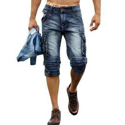 Retro Multi Pockets Over-Knee Short Jeans