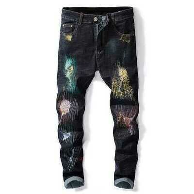 Printing Hip-Hop Design Colorful Holes Jeans