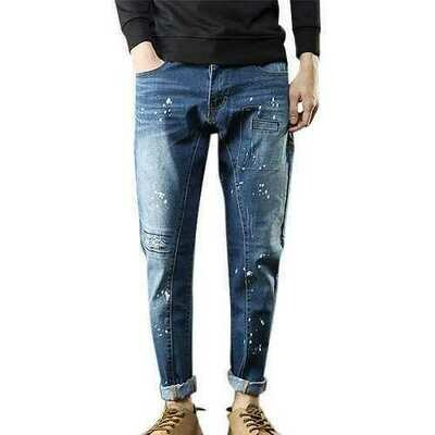 Printing Holes Patch Cotton Jeans