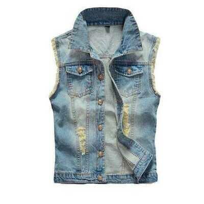 Large Size Mens Denim Vest Vintage Sleeveless Ripped washed jeans waistcoats