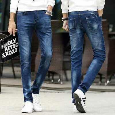 Men's Denim Men's Pants Slim Feet Pants Men's Jeans Trend Youth Casual Pants Long Pants
