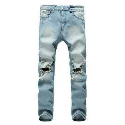 Mens Holes Fashion Casual Straight Legs Jeans Vintage Light Blue Denim Pants