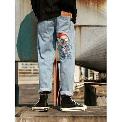 Men's Fashion Carp Embroidered Hip Hop Straight Jeans