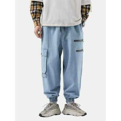 Retro Solid  Jeans Cargo Pants
