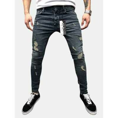 Mens Casual Street Style Frayed Jeans