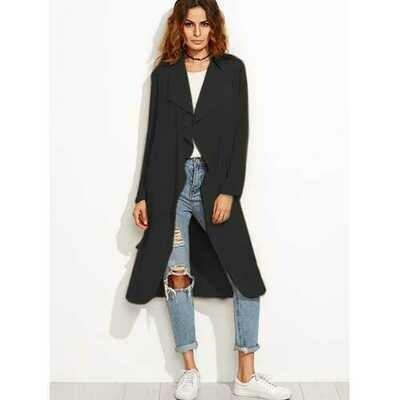 Women Waterfall Belted Blazer Trench Jacket