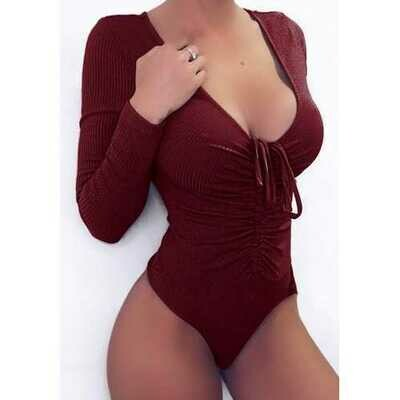 Long Sleeve Lace Up High Cut Bodysuit