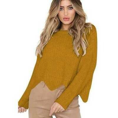 Women O-neck Irregular Hem Loose Sweater