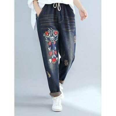 Vintage Elastic Waist Pocket Embroidery Jeans
