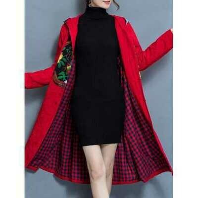 Winter Women Cotton Linen Loose Hooded Jacket