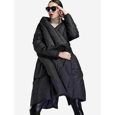 Lapel Irregular Hem Plus Size Down Coat