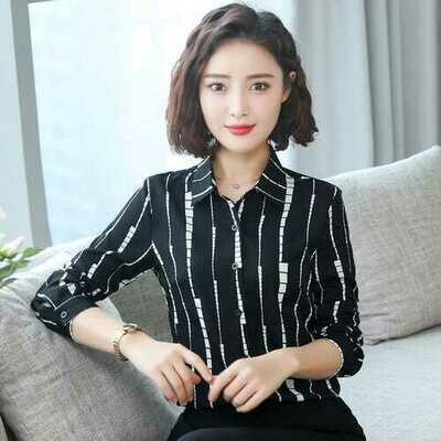 Real Shot New Shirt Female Long-sleeved Printed Shirt Spring And Autumn Korean Version Of The Self-cultivation Striped Business Wear Shirt 41262